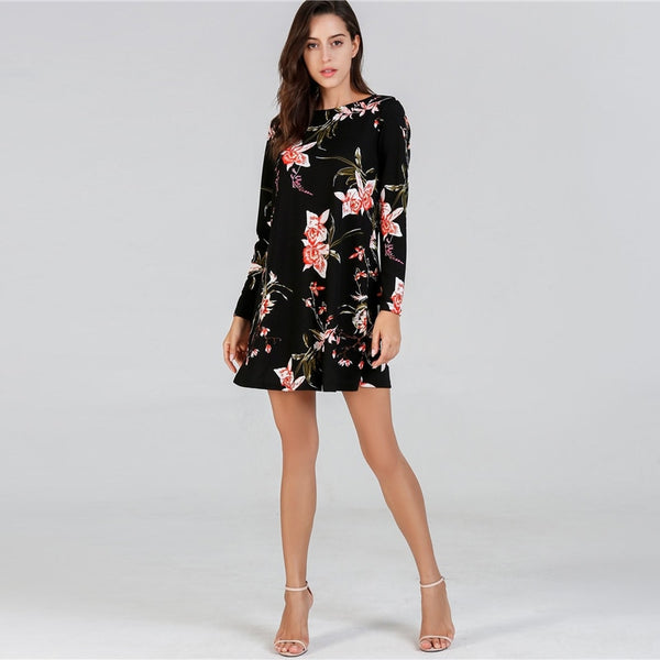 Flower Print Black Long Sleeve Tunic Dress