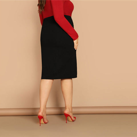 Plus Size Black Pencil Skirt