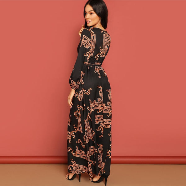 Scarf Print Belted Maxi Wrap Dress