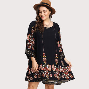 Plus Size Floral Embroidery Tunic Dress