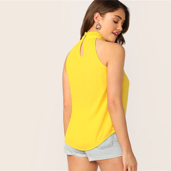 Bright Yellow Frilled Halterneck Buttoned Keyhole Back Sleeveless Top