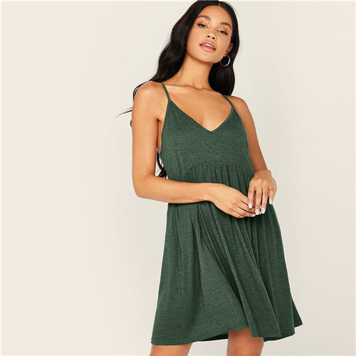 Solid Criss-cross High Waist Slip Cami Dress