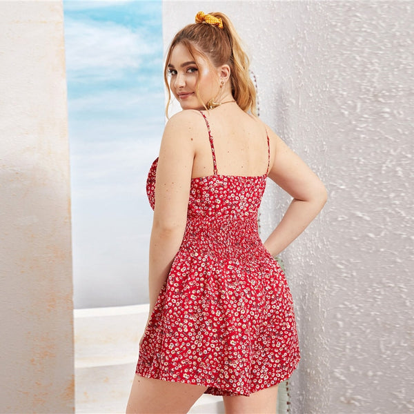 Plus Size Tie Front Shirred Waist Ditsy Floral Peekaboo Romper