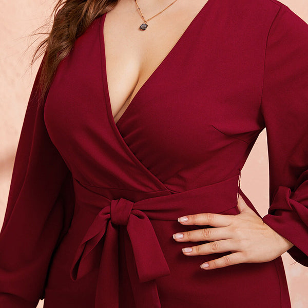 Plus Size Burgundy Plunging Neck Wrap Dress