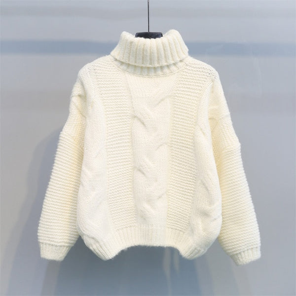 Short Women's Knitted Turtleneck Pullover Sweater