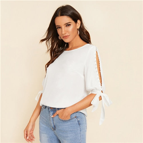 Solid Pearl Beaded Side Knot Cuff Blouse