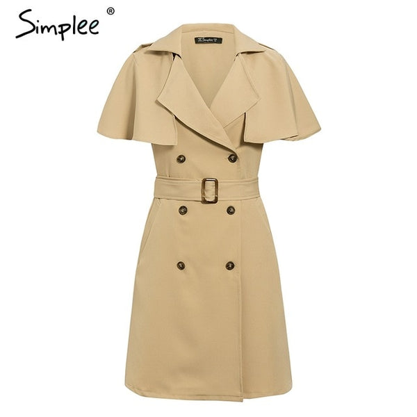 Solid Ruffled Sleeve Blazer/Trench Style Dress