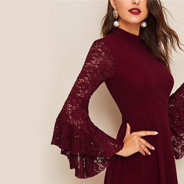 Burgundy Contrast Lace Flounce Sleeve  Dress Women