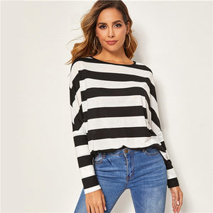 Black and White Stripe Print T-shirt