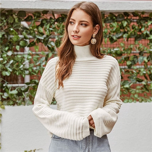 White Solid High Neck Drop Shoulder Sweater Women