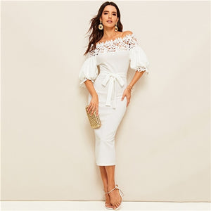 Guipure Lace Detail Off the Shoulder Belted Dress