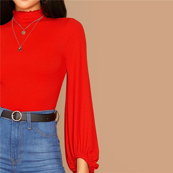 Stand Collar Lantern Ruched Sleeve Rib-knit Crop Top