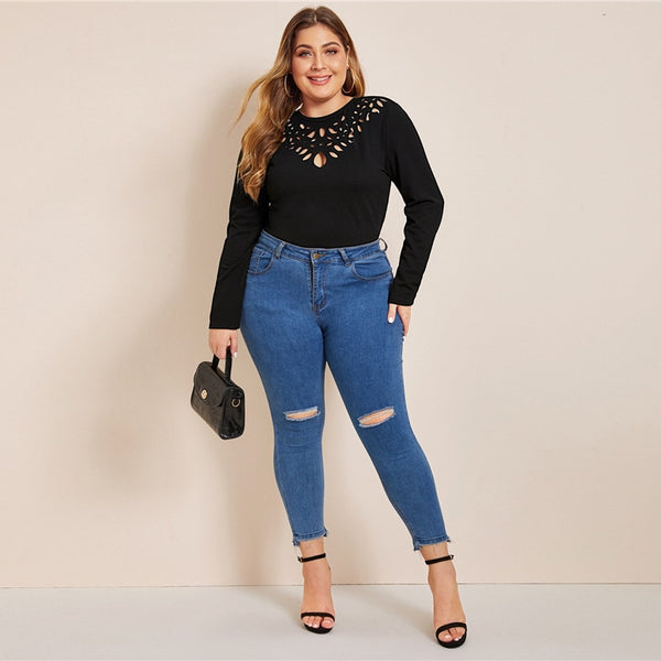 Plus Size Black Keyhole Back Laser Cut Front Top