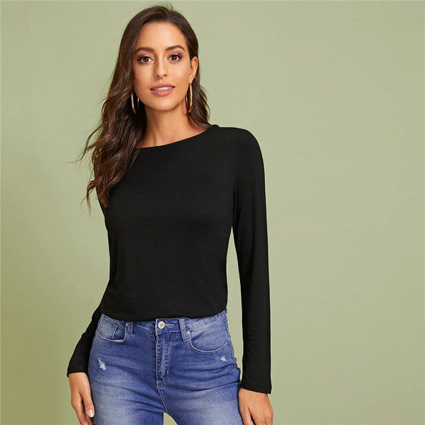Black Button Back Asymmetrical High-low Hem Top
