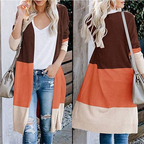 Contrast Color Knit Patchwork Long Cardigan