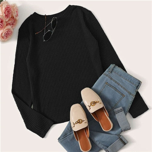 Round Neck Ribbed Knit Top