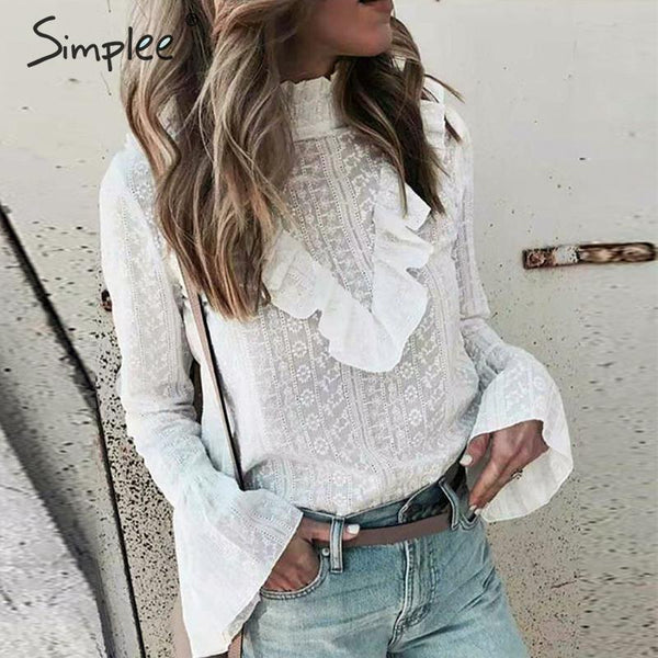Ruffle Sleeve Stand Neck Cotton Blouse