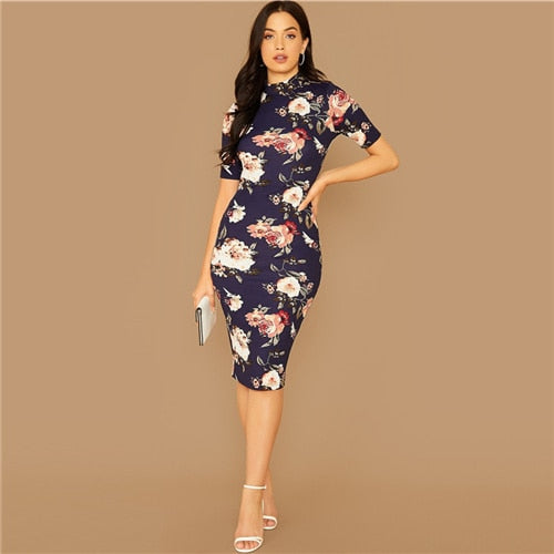 Navy Floral Print Short Sleeve Pencil Dress
