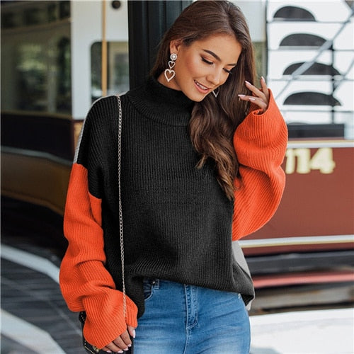 Multicolor High Neck Ribbed Knit Casual Sweater