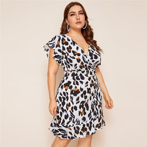 Plus Size Leopard Print Surplice Front Ruffle Hem Short Dress