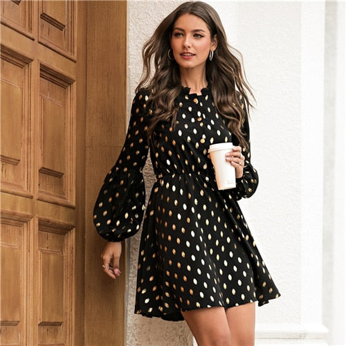 Black Gilding Polka Dot Contrast Lace Dress