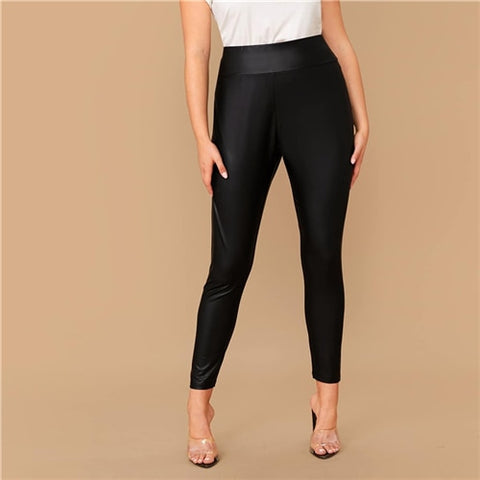 Plus Size Elastic Waist Leather Look Cropped Leggings