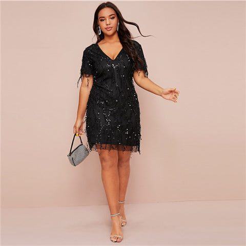 Plus Size Glamorous Contrast Sequin Fitted Dress