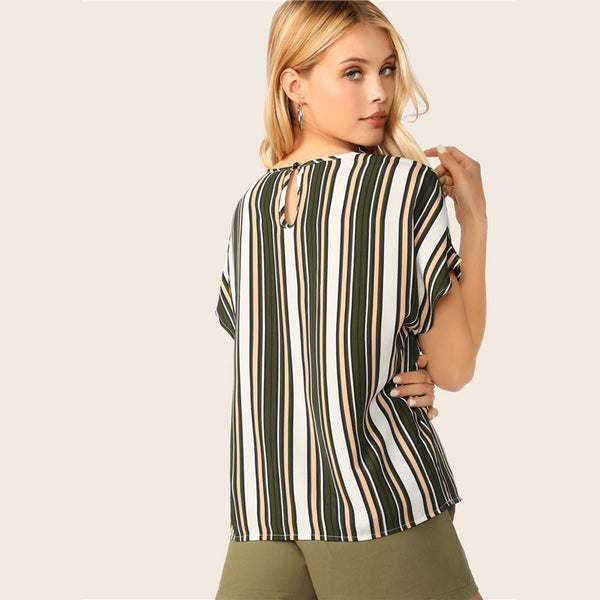 Keyhole Back Short Sleeve Colorblock Striped Top