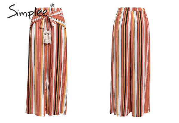 Split Striped Wide Leg Pants