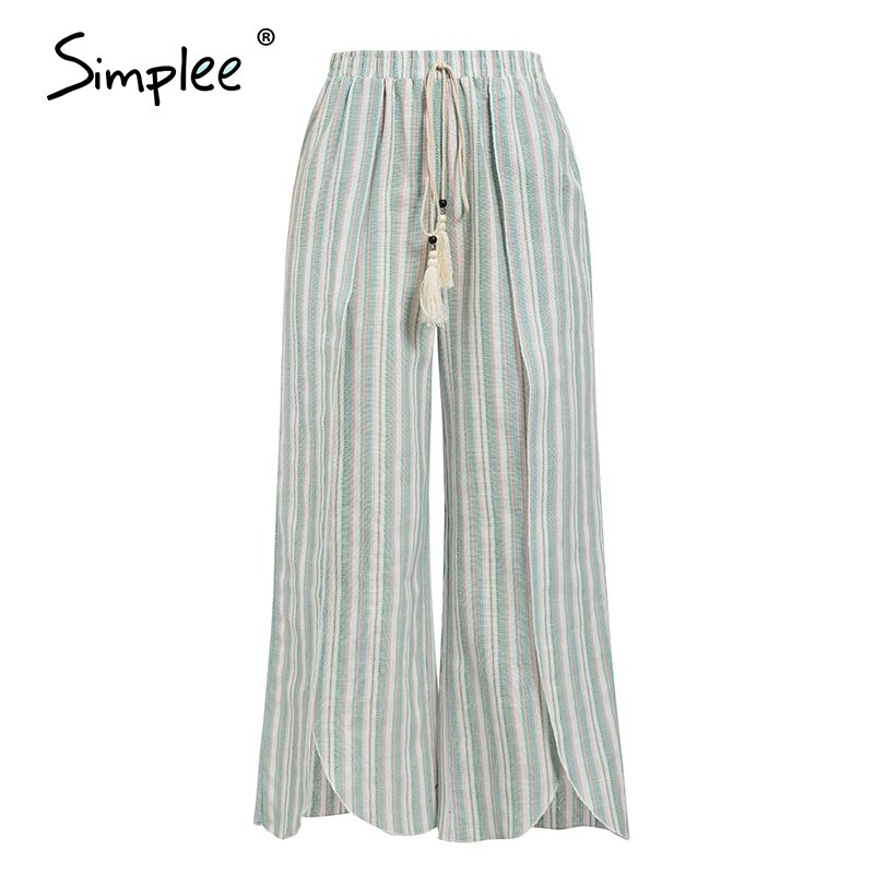 Cotton Linen Striped Wide Leg Pants