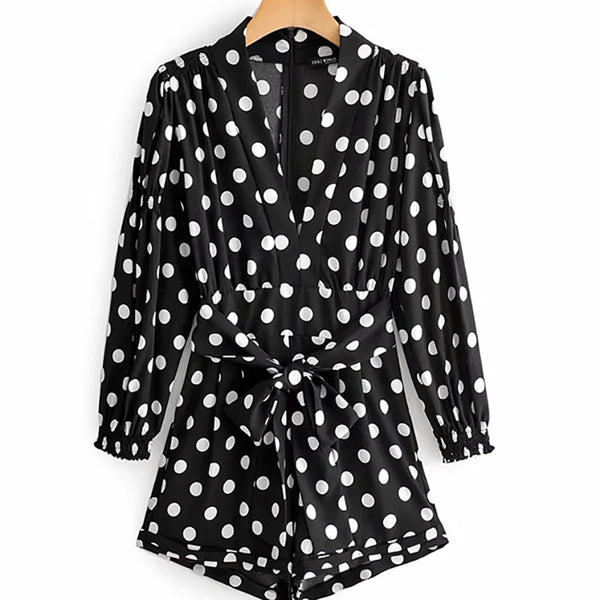 Polka Dot Print Long Sleeve High Waist With Belt Short Jumpsuit