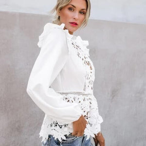 Women Floral Lace Boho Long Sleeve White Top
