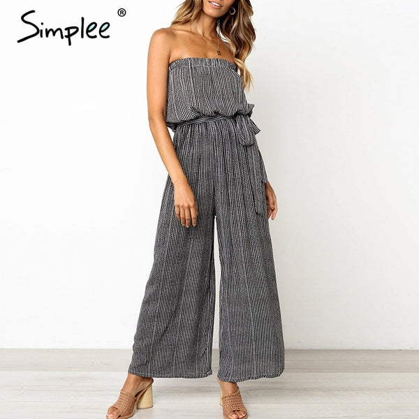Strapless Wide Leg Belted Print Romper