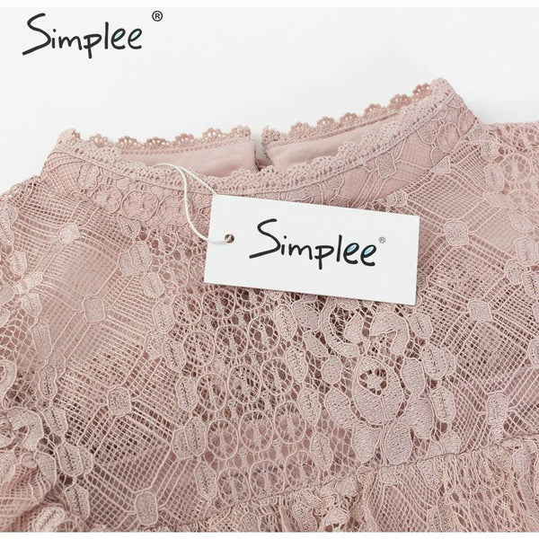 Simplee High Neck Ruffled Lace Blouse