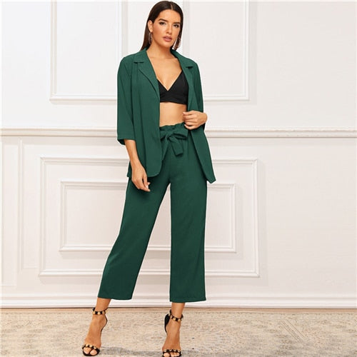 Solid Notched Neck Blazer and Belted Crop Pants 2 Piece Set