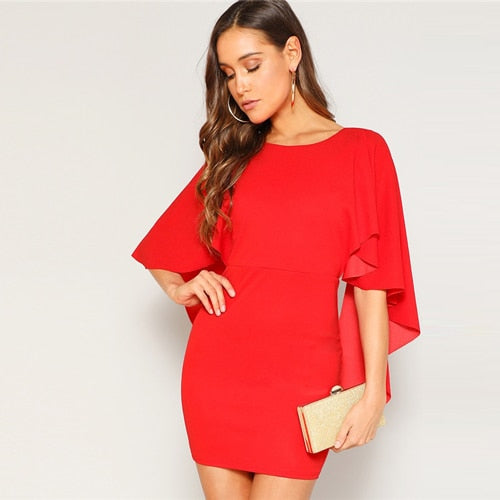 Open Back Cloak Sleeve Summer Mini Dress