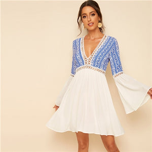 Deep V Neck Contrast Lace Insert Boho Dress