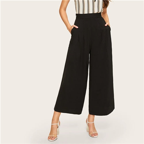 Zip Side Slant Pocket Wide Leg Crop Pants