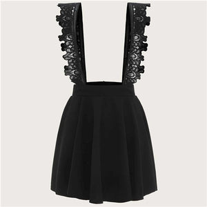 Plus Size Black Contrast Lace Suspender Dress
