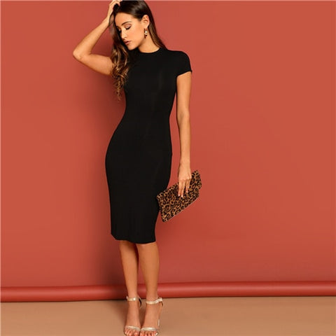 Black Stand Collar Solid Natural Waist Stretchy Bodycon Dress