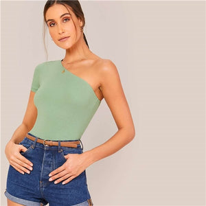 Green One Shoulder Slim Fitted Solid Crop Tee