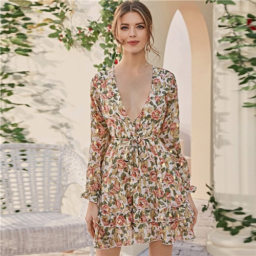 Deep V Neck Floral Print Boho Dress With Belt