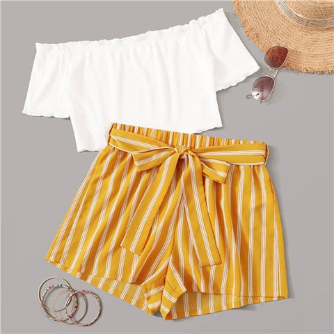2 Piece Set Off Shoulder Rib-Knit Crop Top and Self Belted Striped Shorts Set