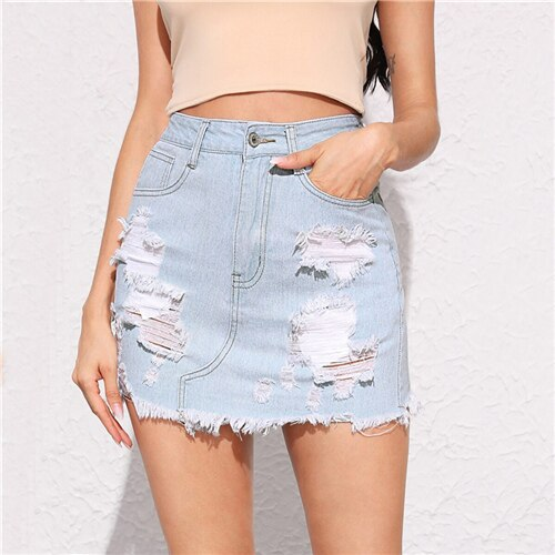 Pastel Blue Frayed Edge Ripped Detail Denim Skirt