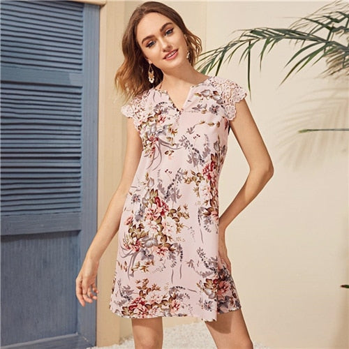 Multicolor Notched Neck Guipure Lace Shoulder Floral Print Dress