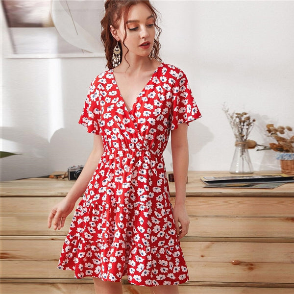 Ditsy Floral Surplice Front Ruffle Hem Dress