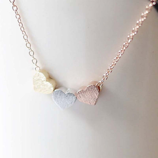 Trendy Tiny Three Heart  Pendant Necklace