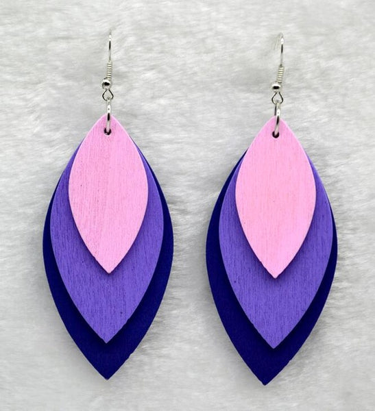 Wooden Leaf Earrings