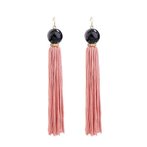 Bead and Tassel Drop Earrings