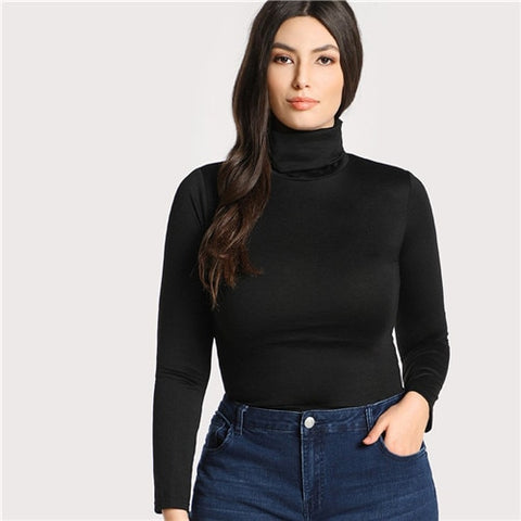 Plus Size Black Casual High Neck Long Sleeve Top